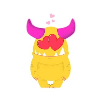 Romantic cartoon monster with pink horn in love