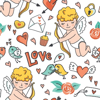Romantic cartoon seamless pattern, cute cupid, birds, envelopes, hearts and elements.