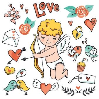 ロマンチックな漫画セット。かわいいキューピッド、鳥、封筒、ハート、その他のデザイン要素。図