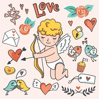 ロマンチックな漫画セット。かわいいキューピッド、鳥、封筒、ハート、その他のデザイン要素。
