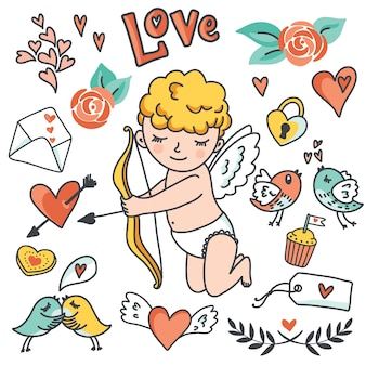 Romantic cartoon  set. cute cupid, birds, envelopes, hearts and other design elements.  illustration