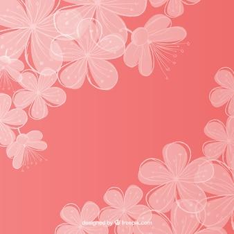 Romantic cherry blossom background Free Vector