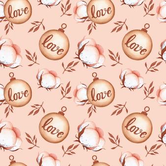 ピンクの背景にロマンチックなクリスマスの綿のシームレスなパターン