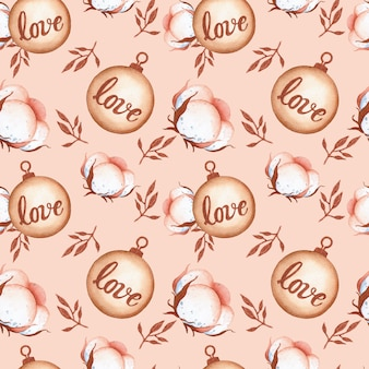 Romantic christmas cotton seamless pattern on pink background