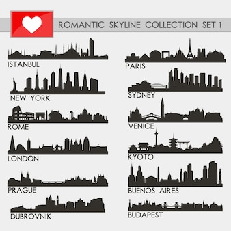 Romantic cities skyline collection