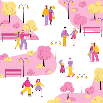 Romantic city park with cartoon couples walking together