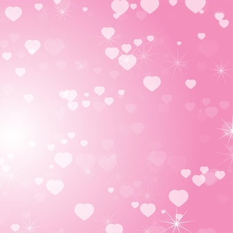 Romantic colored abstract background with hearts of different sizes.