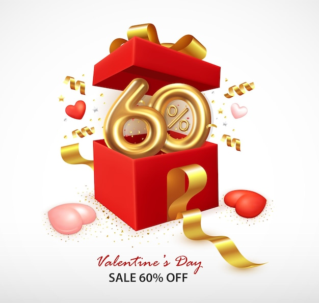 Romantic composition with open gift box and confetti
