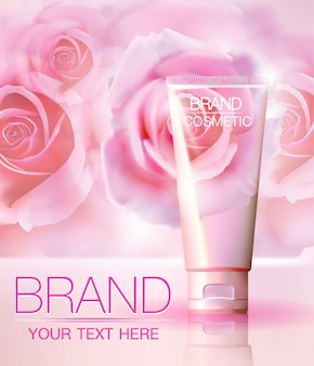 Romantic cosmetic ads, with realistic tube package on a rose abstract background.