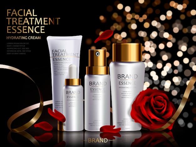 ロマンチックな化粧品セット、3dイラストで分離された赤いバラと金色のリボンと白い容器