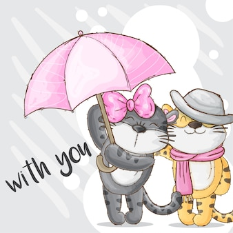 Romantic couple baby tiger hand drawn animal