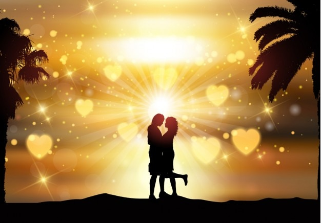 Romantic couple backlit background