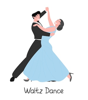 Romantic couple dancing classic waltz illustration