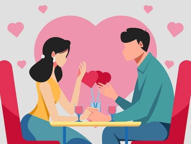 레스토랑에서 로맨틱 커플 저녁 식사
