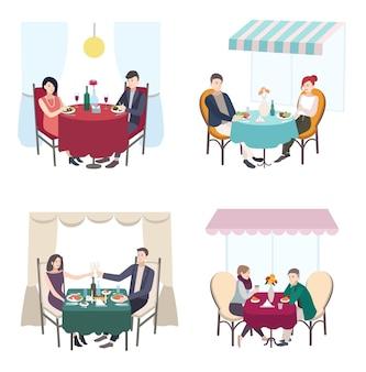Романтический ужин пары в кафе, ресторане. набор мужчин и женщин свидания. коллекция плоской иллюстрации.