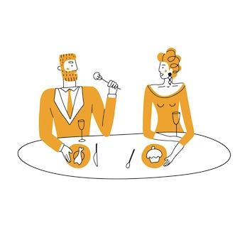 バレンタインデーのカップルのデートのコンセプトカラー落書きでレストランで夕食を食べているロマンチックなカップル...