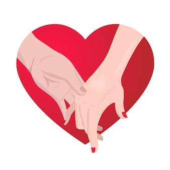Романтическая пара, взявшись за руки на красном сердце.