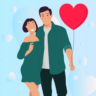 발렌타인 데이에 사랑 풍선을 들고 로맨틱 커플