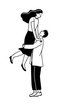 Романтическая пара иллюстрация мужчина держит женщину на руках счастливые молодые люди каракули иллюстрации