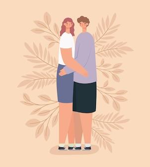 ロマンチックなカップルのイラスト