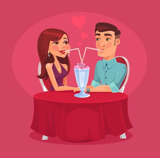 Романтическая пара в кафе. векторная иллюстрация плоский