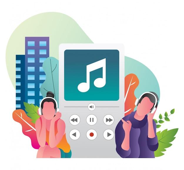 Романтическая пара слушает музыку в канун нового года с классическими наушниками