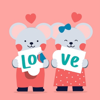Romantic couple of loving mice showing the text love