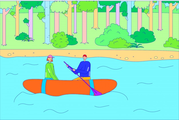 Romantic couple male female character descent inable boat river, people float raft and rowing oar lake line   illustration art.