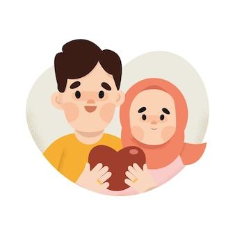 ロマンチックなカップルのイスラム教徒のイラスト