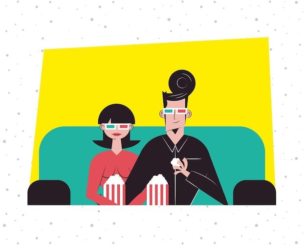 Романтическая пара смотрит 3d-фильм с очками и дизайном попкорна, отношения, любовь и романтика