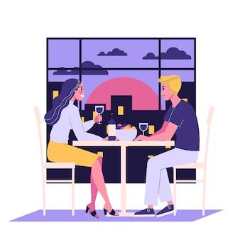 ロマンチックなカップルはカフェに座っています。レストランで日付を持っているカップルのイラスト。