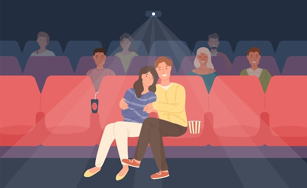 Romantic couple sitting in movie theater or cinema hall and hugging. young man and woman watching film or motion picture together. front view. colorful illustration in flat cartoon style.