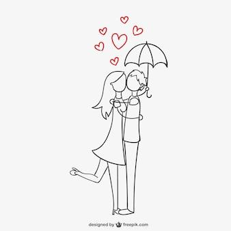 Романтическая пара под зонтиком Бесплатные векторы