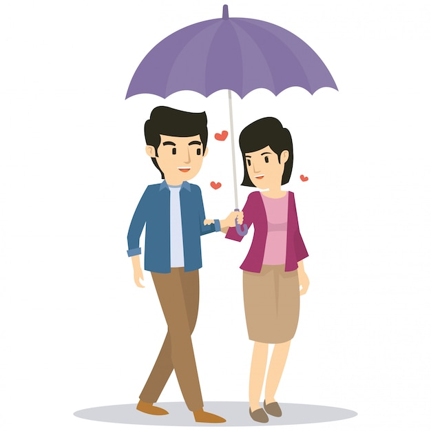 Romantic couple use umbrella when rain in valentine day