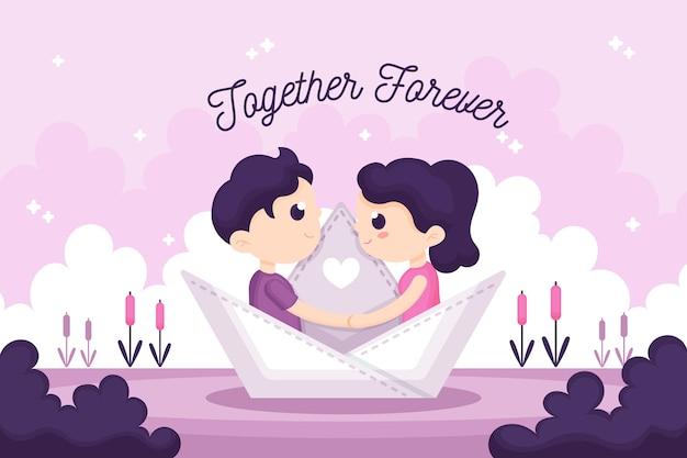 ロマンチックなカップルのバレンタインデーの背景