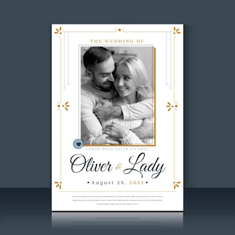 Romantic couple wedding invitation template