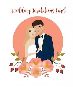 Romantic couple in wedding invitations card.