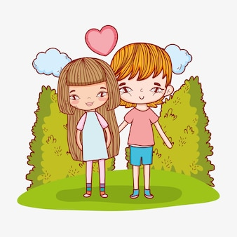 Romantic couple with clouds and heart love