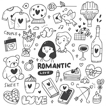 Romantic couple with cute doodles