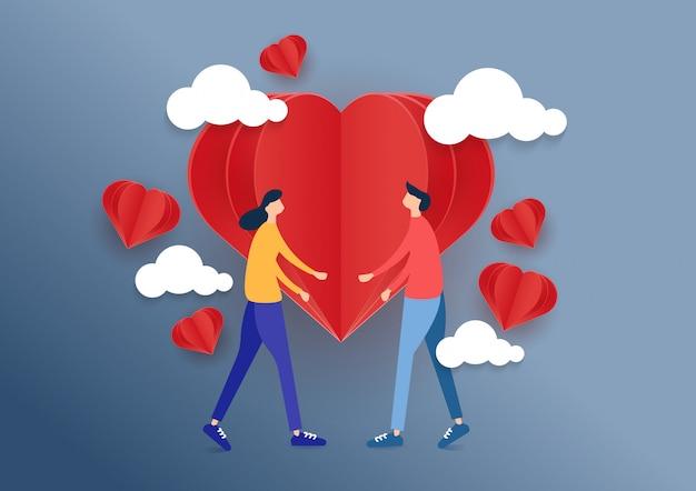 Romantic couple with love design