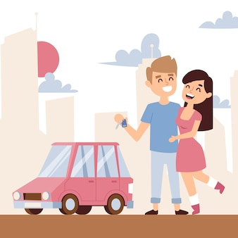 Romantic couple with new car