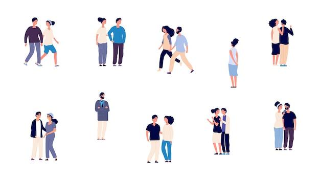 ロマンチックなカップル。独身の女の子の男と愛のベクトル文字の人々。孤立した散歩の平らな男性と女性。カップルは、男性と女性のロマンチックな、幸せな人々のロマンスイラストを愛しています