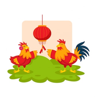 Romantic cute chinese new year rooster couple cartoon character illustration
