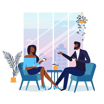 Romantic date in cafe flat illustration