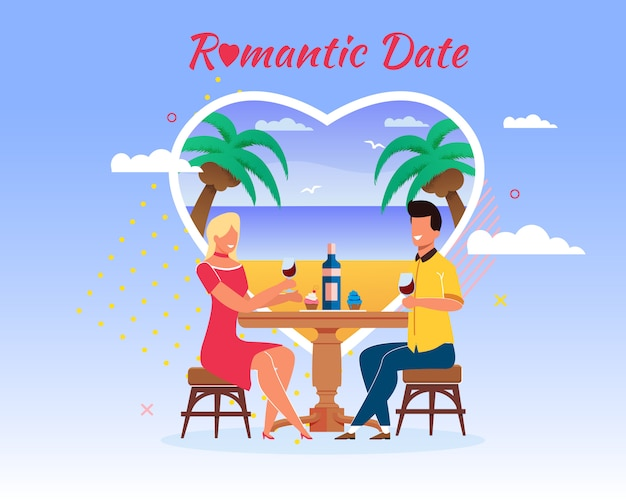 Romantic date cartoon man and woman at restaurant table drink