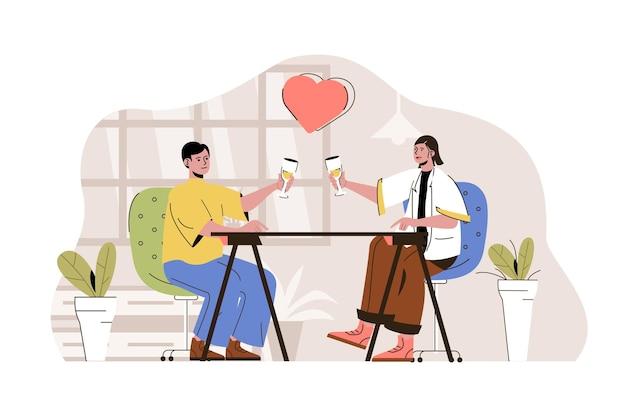 레스토랑과 음료에서 데이트하는 낭만적 인 데이트 개념 사랑하는 남녀