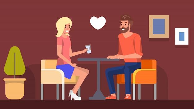 カフェでロマンチックなデート
