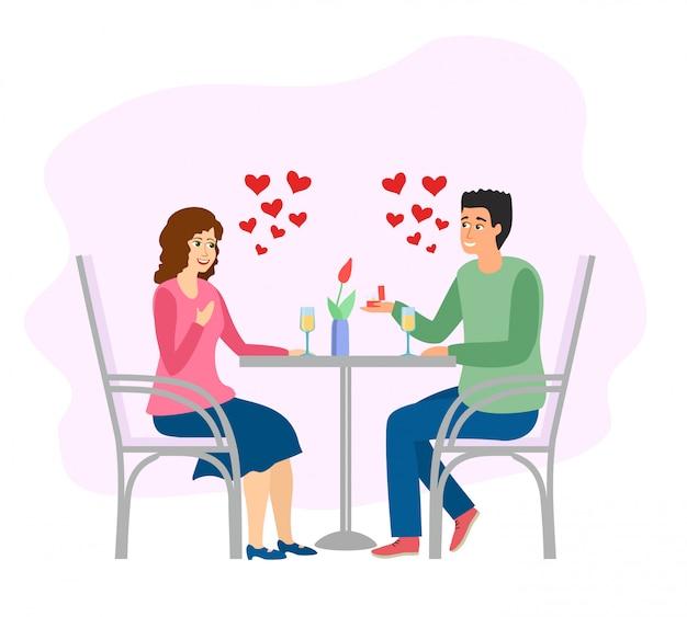낭만적 인 데이트. 카페 테이블 저녁 식사에서 남자와 여자입니다. 삽화. 레스토랑 데이트 저녁.