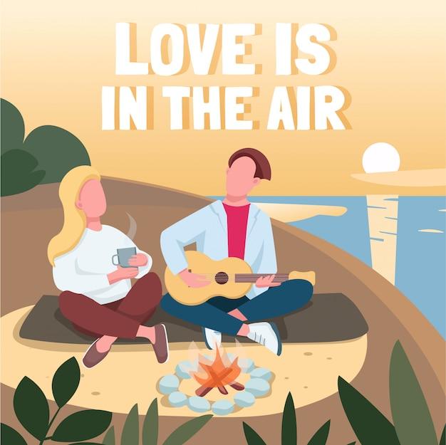 ビーチのソーシャルメディア投稿のロマンチックなデート。愛は空気のフレーズにあります。 webバナーデザインテンプレートです。ブースター、碑文付きコンテンツのレイアウト。