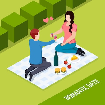 Romantic date outdoor isometric composition